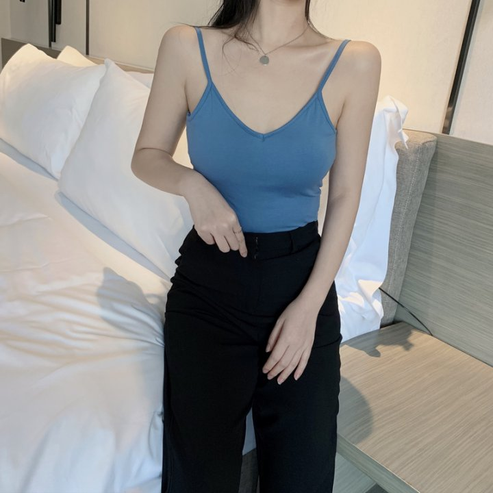 Sleeveless slim big halter bottoming shirt short sexy sling tops