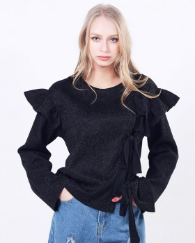 Lotus leaf edges hoodie European style tops for women