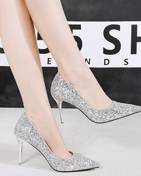 Pointed shoes sequins high-heeled shoes