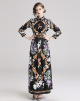 Slim all-match printing pinched waist dress