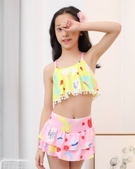 Girl cozy skirt large yard separate swimwear 2pcs set