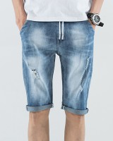 Holes summer five pants loose denim shorts for men