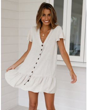 Spring and summer single-breasted V-neck dress