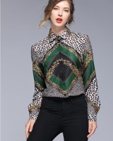 Fashion long sleeve slim printing lapel all-match shirt