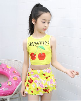 Wicking girl child swimwear big child lovely lady dress