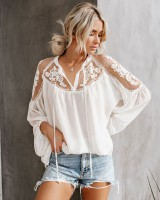 V-neck European style lace sexy perspective shirt