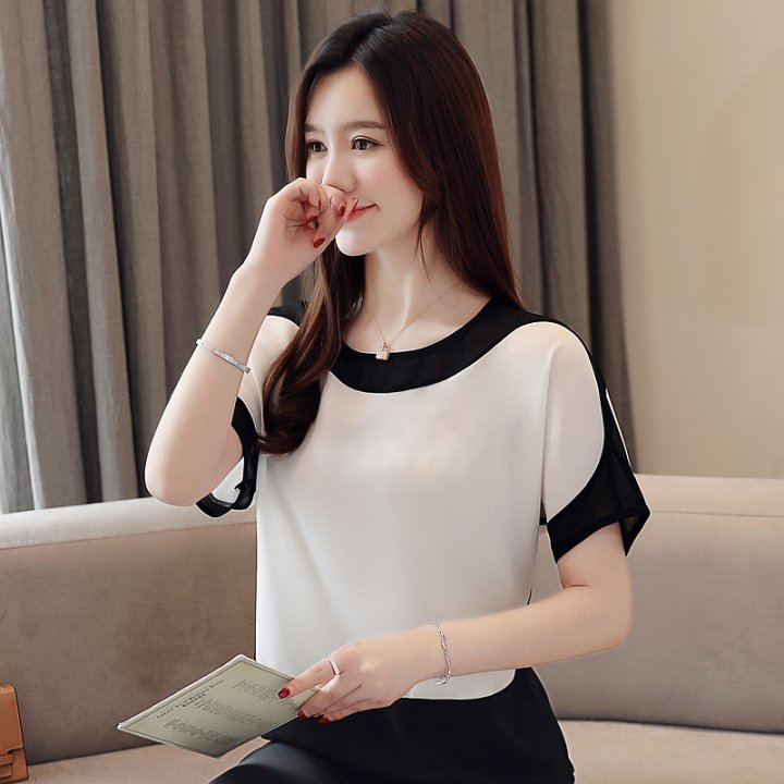Short sleeve tops Western style chiffon shirt for women