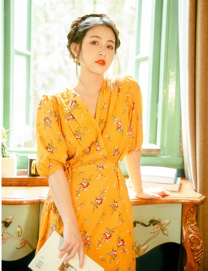 Summer France style floral retro V-neck dress