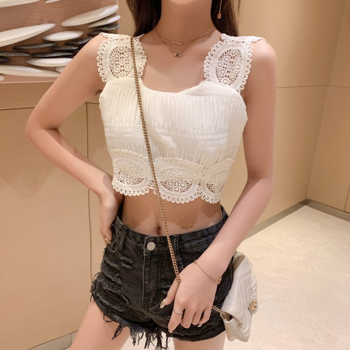 Hollow sexy short sling tops lace fold navel vest
