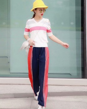 Fashion Casual long pants stripe tops a set for women