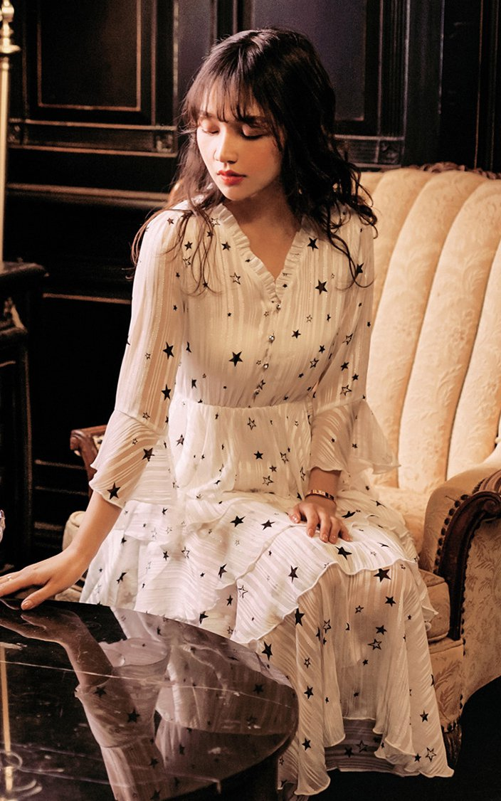 Stars temperament long dress printing lady dress