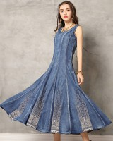 Embroidery retro dress denim long dress for women