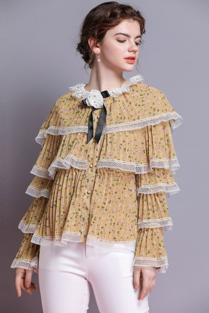 Lace pleated shirt floral spring and summer tops