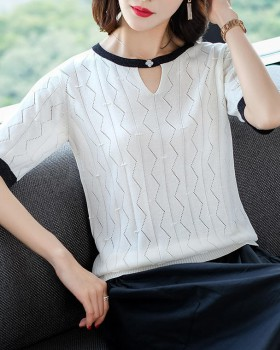 Spring short sleeve tops ice silk thin sweater for women