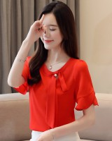 Frenum sweet small shirt short sleeve chiffon shirt