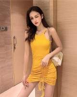 Halter slim sleeveless dress strapless dress