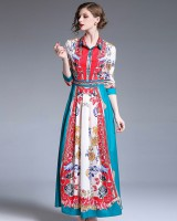 All-match printing slim fashion European style dress