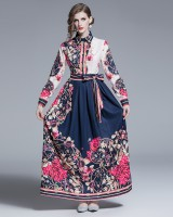 Printing slim long retro big skirt European style dress