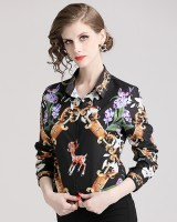 European style printing slim all-match fashion shirt