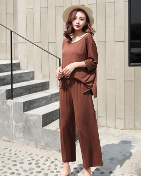 Short sleeve modal slim tops summer pure long pants