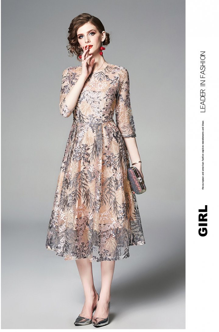 Lace embroidery short sleeve elegant summer dress