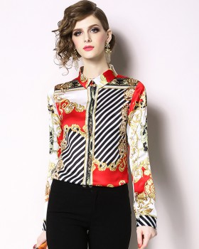 Printing European style shirt all-match spring tops