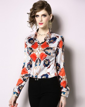 Spring lapel all-match shirt European style printing tops