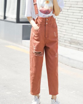 Holes loose bib pants straight sling pant for women