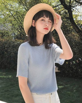 Summer sweet knitted student short sleeve tops for women
