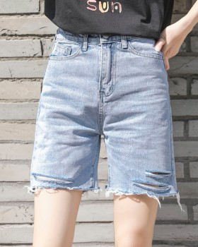 Summer Korean style short jeans burr pants for women