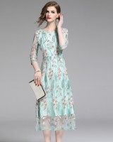 Exceed knee sweet long dress embroidered dress for women