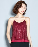 Slim sling sequins summer vest