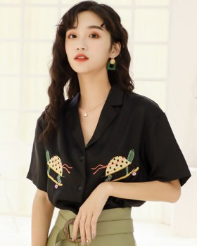 Loose embroidery black shirt satin Casual tops