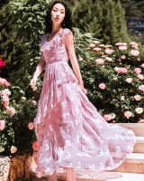 Lotus leaf edges wood ear dress vacation long dress