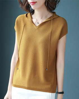 Hooded slim bottoming shirt all-match pure tops for women