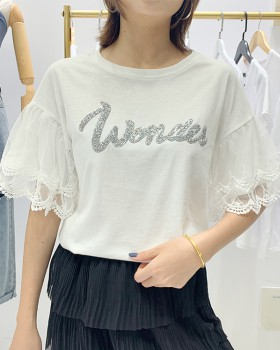 Sweet loose lace sleeve tops summer letters T-shirt