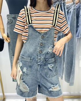 Refreshing Korean style shorts denim bib pants for women