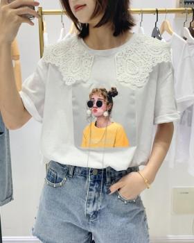 Summer doll collar T-shirt lace tops for women