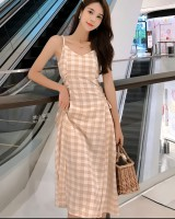 Retro plaid bandage summer waist sling France style dress