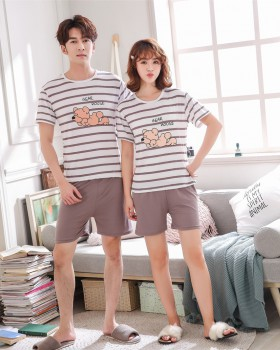 Round neck pajamas spring and summer shorts a set