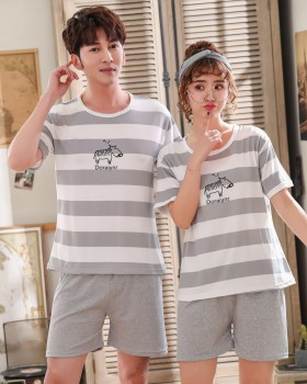 Homewear short sleeve unisex thin round neck pajamas a set