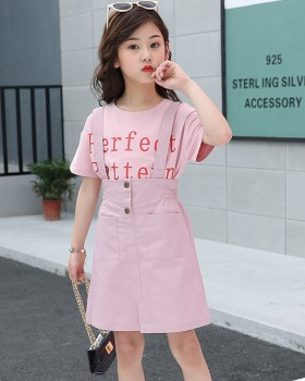 Big child child shirt Korean style strap dress 2pcs set