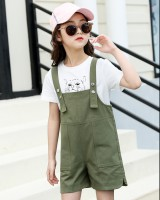 Western style summer shirt fashion child strap dress 2pcs set
