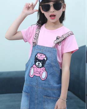 Child Western style shirt summer strap dress 2pcs set