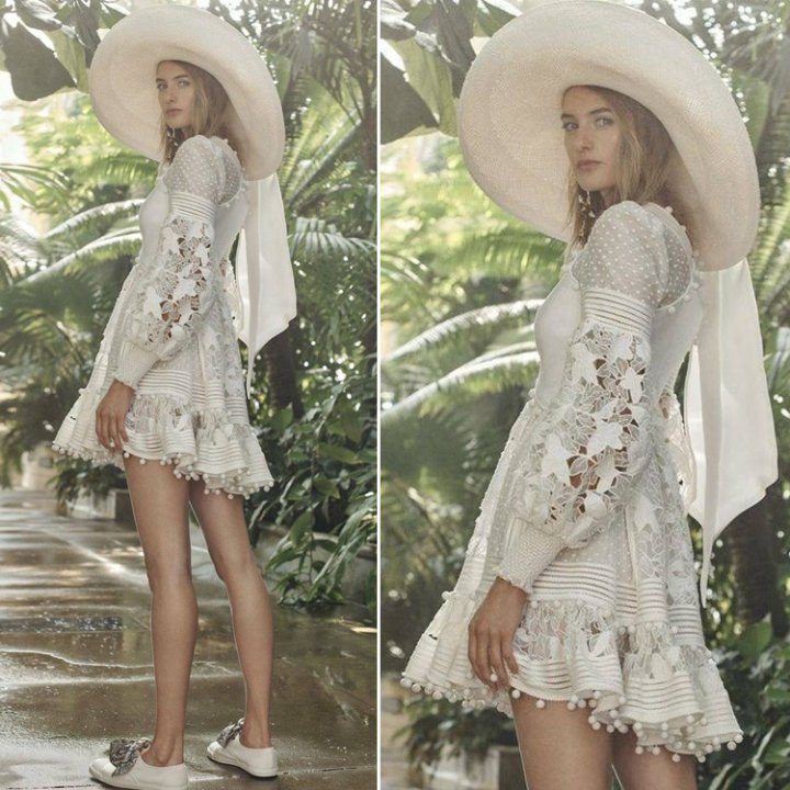 Puff sleeve embroidery vacation V-neck hollow dress