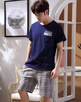 Casual short sleeve pure cotton shorts a set for men