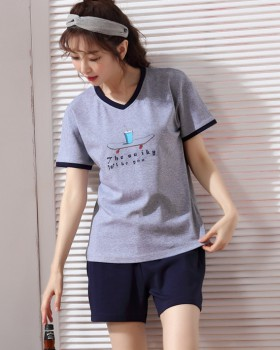 Summer shorts short sleeve pajamas 2pcs set for women