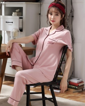 Spring lapel homewear pajamas 2pcs set for women