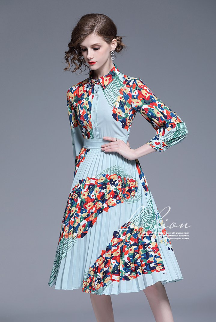 Casual spring pleated printing Western style dress
