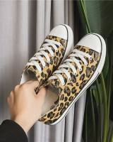Leopard fashion canvas shoes spring cloth shoes for men